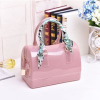 jelly bag - The new spring and summer medium jelly candy color transparent crystal beach bag package bags female small package