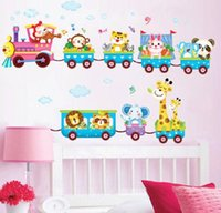 baby nursery designs - S Hot sale Safari Animals Train Wall Stickers Nursery Decor Baby Kids Art Mural Removable