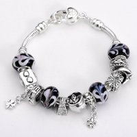 Wholesale European Style Charm Glass Crystal Bead Bracelet Sterling Silver Fashion Jewelry ZY01