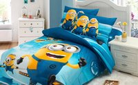 100% Cotton baby comforter patterns - Twin full Queen Size Cotton Baby kid Cartoon Minions Pattern Bedding Set bed linens bed cover duvet cover Home Textile