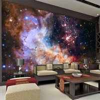 Wholesale 3D Gorgeous Galaxy photo wallpaper Custom Silk Wallpaper Starry Night Wall Mural Art Painting Hoom decor Kid Bedroom Living room Decoration
