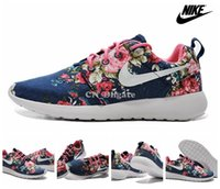 Wholesale 2015 Nike Wmns Roshe Run Print Floral Navy Blue White Flower Women Men Running Shoes Cheap Roshes Run Sport Trainers Size