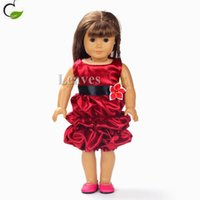 Wholesale Handmade girl Doll clothes and accessories Red fold dress fashion Fit inch American Girl doll best gifts for my baby