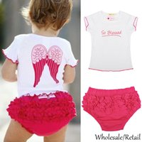 Wholesale 2015 Hot Sell Baby Clothing Sets Cute Girl Angel Wing T Shirt Tops Shorts Suits Summer Infant Outfits Set SV001356