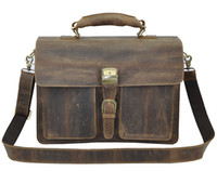 Wholesale Men s Crazy Horse Leather Business Briefcase shoulder laptop Ba big capacity shoulder bag from factory sales welcome stable stock