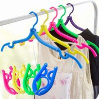 adjustable hanging - High Quality Foldable Space Saving Wardrobe Hanger Hang Plastic Hook Hangers for Clothes