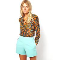 Wholesale w1025 Women Long Sleeve Blouse Long OL Office Shirts Chiffon Leopard Loose Tops Hot Sale