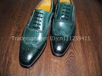bespoke handmade shoes - bespoke handmade pure genuine fetal calf leather men s dress classic casual oxford color dark green shoe