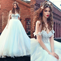 Wholesale Dashing Ball Gown Wedding Dresses Off The Shoulder Bodice Tulle Wedding Gowns With Lace Applique Floor Length Bride Dresses