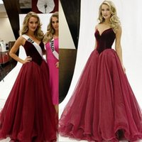 Wholesale 2016 Burgundy Velvet Miss Universe Pageant Dresses Sweetheart A Line Floor Long Backless Evening Occasion Gowns Prom Party Wears Custom Made