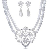 Wholesale Imitation Pearls Beaded Pendant Necklace Ear Dangle Bride s Wedding Supplies Jewelry Set