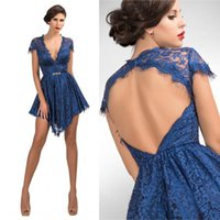 Wholesale 2016 Sexy Fashion Party Dress A Line Deep V Neck Cap Sleeve Lace Short Bridesmaid Gown Prom Gowns Custom