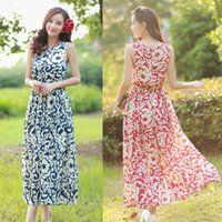 Cheap 2015 Summer Vintage Print Boho Beach Dresses Women Clothing Summer Casual Long Chiffon Bohemia Maxi Dress Free Size
