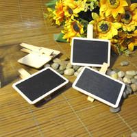 Wholesale 20PCS Cute Mini Wooden Blackboard Chalkboards Paper Clips Message Board Kids Chalk Board
