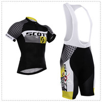 bicycle scott - 2015 SCOTT Black and yellow Cycling Jersey short sleeves Bicycle Breathable Racing Bicycle Clothing Lycra GEL Pad Race MTB Bike bat