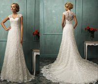 Cheap 2016 Vintage Wedding Dresses Bit V Neck Capped Sleeve Sexy Sash Back A Line Chapel Train Beaded Lace Bridal Gowns Amelia Sposa