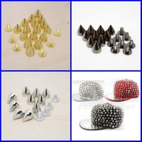 shoes hats caps - 7 mm Metal Spike Studs Bullet Rivet Screw Punk Bag Belt Cap Hat Shoes Leathercraft DIY Clothing Accessories Gold Black Sliver