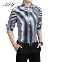 Wholesale Striped Men s Business Long Sleeve Dress Shirt Masculina Male Social Shirts Men Striped shirt Casual Male Shirts