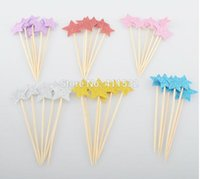 baby showers food - 24pcs Glitter Star Toppers Picks Birthday Party Decorations Baby Shower Cupcake Toppers Food Picks