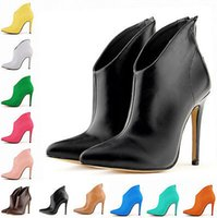 Cheap HOT sale brand new free shipping Womens Zip NEW 16 Colors High Heels Stilettos Ankle Boots Pointy Toe Shoes 35-43 wedding shoes