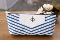 Wholesale 100pcs Canvas Stripe Navy Style Pencil bag Pen Case Storage Coin Purse crown pencil case Pouch