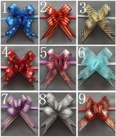 Birthday pull bows - Gift Flowers Pattern Metallic film Pull bow Pull Flower x31cm Ribbon Useful riband galloon packaging flowers Gift Packing