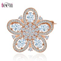 african jewelry stores - Teemi Jewelry Store New Fashion Hot Selling Punk Crystal Brooches Flower European Style CZ Wedding Bridal White Rose Gold Plated