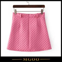 Cheap Pink PU Skirts Best Plaid Line Women Skirts