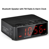 clock radio mp3 - Wireless Desktop Bluetooth Alarm Clock Stereo Speaker with FM Radio Supported TF Card Black White