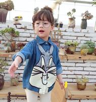 Nouvelle filles vêtements France-2016 Printemps Nouveaux Designs Mode Enfant Chemises Denim Cute Cartoon Rabbit Filles Long Sleeve Button Chemises Tops Enfants Vêtements 2T-8T