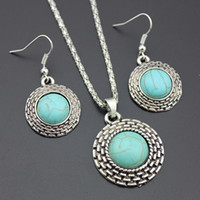 Wholesale Hot Sale Jewelry Sets Vintage Antique Silver P Turquoise Stone Earrings Necklace Women Jewelry set