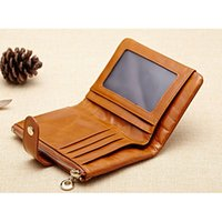 ans waxes - First layer oil wax genuine cowhide leather mini short wallet ladies fashion vintage purse new men s wallets ANS PL