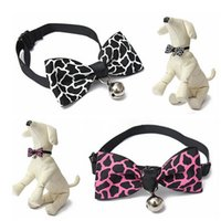 Wholesale Knit Bowknot Adjustable Dog Puppy Pet Collars With Bell Necklace Collars For Dogs Cat collar Colors