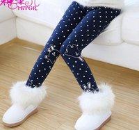 big leg pants - Girls Casule Legging Winter Hot Fashion Style Cartoon Printed Dot Dot Teenagers Tights Thicken Big Kids Pants T1587