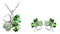 Wholesale 20 Set Colors Woman Austria Crystal Necklace Jewelry Fashion Four Leaf Clover Crystal Rhinestone Necklace Silver Earring Jewelry