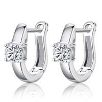 Wholesale 925 sterling silver items hoop huggie earring jewelry Swiss crystal wedding singel circle highly qualified new