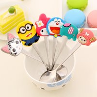 baby spoon stainless - Kawaii Silicone Cartoon Characters Hello Kitty Ice Cream Spoon Minions Stainless Steel Tea Spoon Baby Spoon Soup Coffee Spoon