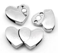 Wholesale sets Silver Tone Double Heart Megnetic Clasps for Bracelet x17mm