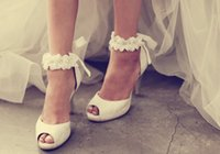 advance ankle - 2016 Promotion New Arrival Pumps Advanced Custom Wedding Shoes White Lace Ribbon Heels Diamond Flower Bride Small Yards Sandals Large Size