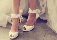 Wholesale Summer Ribbon Sandals - 2016 Promotion New Arrival Pumps Advanced Custom Wedding Shoes White Lace Ribbon Heels Diamond Flower Bride Small Yards Sandals Large Size