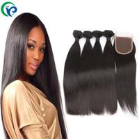 6A pelo de la Virgen con cierre de 3 armadura del pelo con el cordón de cierre Extensiones de cabello peruanos rectas Bultos En bruto Humanos peruanos