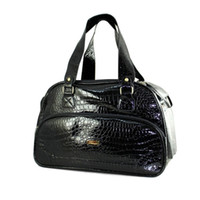 dog carriers - New Black PVC Quilted Crocodile Pattern Dogs Carrier Bag Pets fashion bag