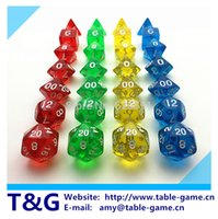Wholesale Wholesales pc Transparent Crystal Dice Set D4 for Board Game rpg d d