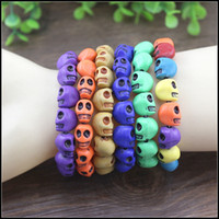 Wholesale Fashion couple Skull bracelets boys girls cool Multicolor Stretch wristband MOQ kids gift SVS0501