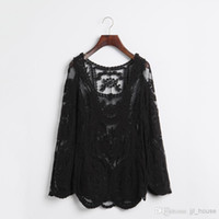 sweet tee shirts - Black white Dress Sweet Semi Sexy Sheer Long Sleeve Embroidery Floral Crochet Tee Lace Top T Vintage Women Tops Shirt T shirt Blouse Blouses