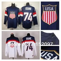 Cheap 2016 Children USA Youth T.J. Oshie Jersey #74 Kid Blue White Winter Olympic Team Sochi 2014 American Hockey Jerseys 100% Polyester
