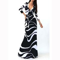 Wholesale Black and White Casual Dresses V Neck Maxi Dress Long Sleeves With Sashes Women Long Dresses for Summer Vestidos Femme Bodycon Day Dress