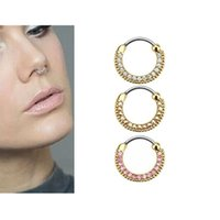 Wholesale 30 Steel Gold Plated Crystal Nose Ring Stud Faux Septum Rings Body Piercing Jewelry Rhinestone Club