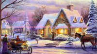 Wholesale Snow house DIY diamond painting embroidery cross stitch kit rhinestone resin pasted painting knitting needlework AX403