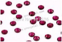 Wholesale SS20 mm round fuchsia crystal flat back no hotfix nail art decoration glitter rhinestones